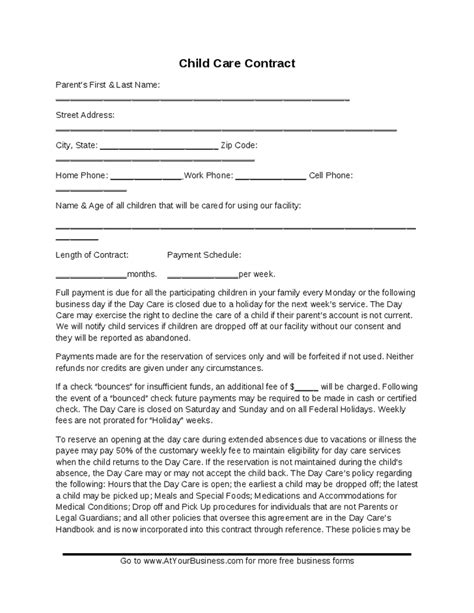 child care contract template child care contract template hashdoc