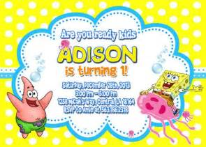 spongebob birthday invitation by fantasticinvitation 7 99 birthday stuff
