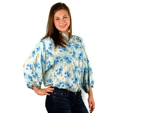 Blue Flower Smocked Blouse Size S M L 1 1970s smock top oversized blouse artists shirt by vintagerunway