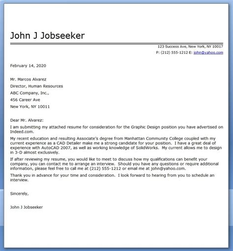 Graphic Design Cover Letter Sample PDF   Resume Downloads