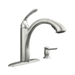 kinzel spot resist stainless one handle low arc pullout kitchen faucet 87035srs moen