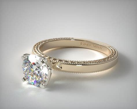 Etched Profile Solitaire En Ement Ring K Yellow Gold