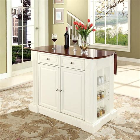 small kitchen islands drop leaf breakfast bar top kitchen island in white efurniture coventry white drop leaf breakfast bar top kitchen island