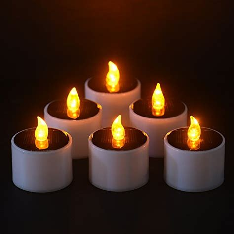 solar led candle l per 6pcs yellow flicker solar power led flameless