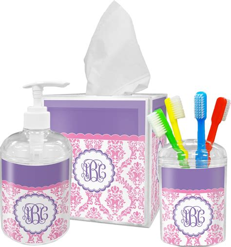 pink white purple damask bathroom accessories set