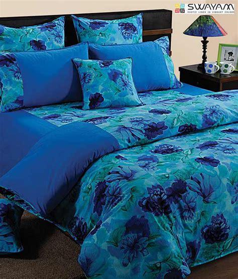 swayam blue floral print large bed sheet set buy swayam