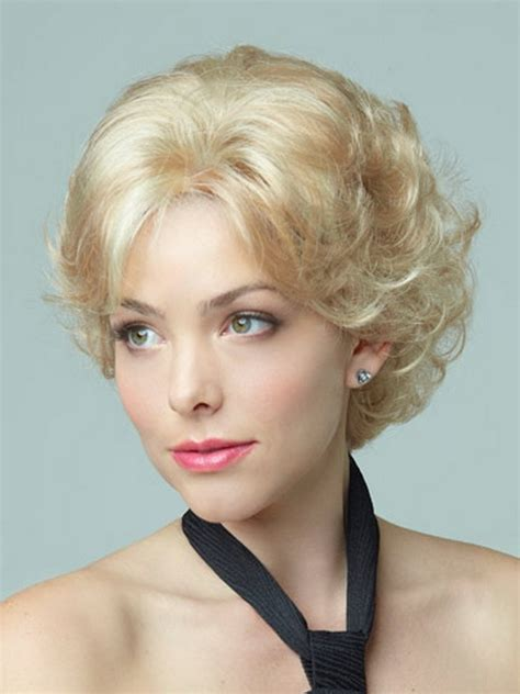 short hair wigs for older women synthetic fluffy simulation scalp hair elegant short curly