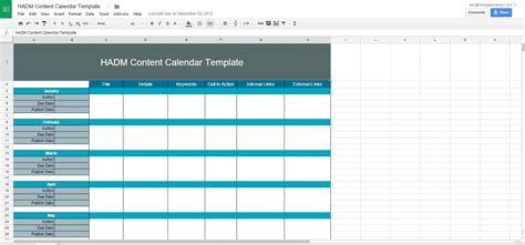 Free 12 Month Content Calendar Template Ha Digital Marketing Website Design Inbound Content Calendar Template Free