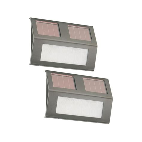 Nature Power Bronze Solar Powered Step Lights 2 Pack Solar Powered Lights Home Depot