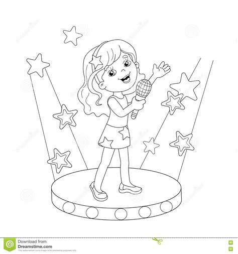 coloring page of a girl outline coloring page outline of girl singing a song on stage