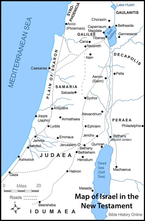 map of ancient jerusalem in jesus time map of israel in the time of jesus with roads