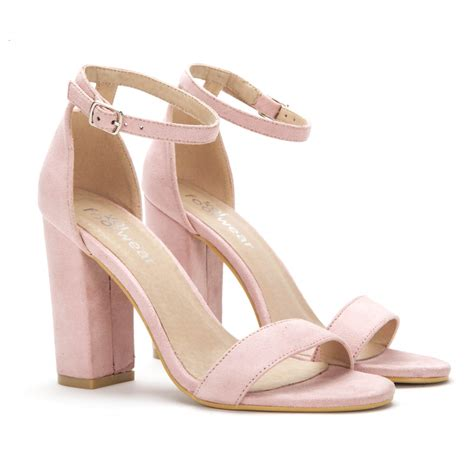 block heel light pink sandal heels