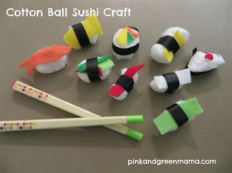 Cotton Arts 1 pink and green cotton sushi craft