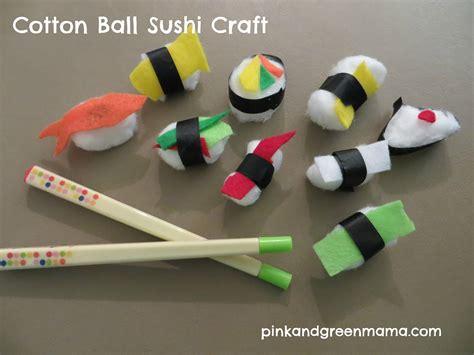 craft balls pink and green cotton sushi craft