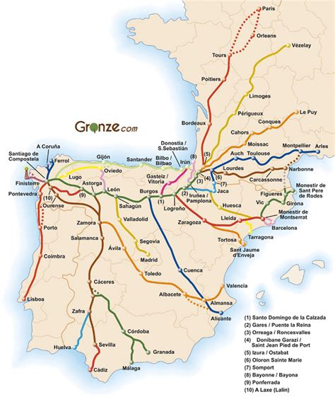 camino de santaigo mapa general camino de santiago galicia