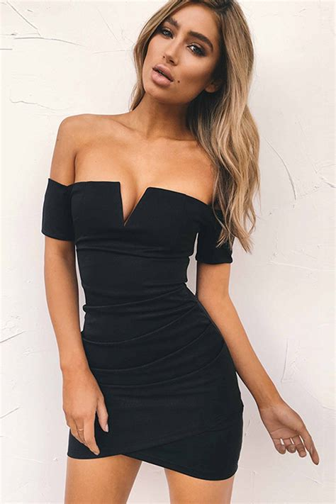 black  shoulder  neck ruched sexy bodycon mini dress