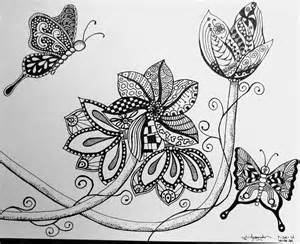 flowers and butterflies zentangle by visualscanner on
