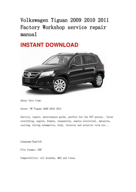 volkswagen tiguan 2009 2010 2011 repair manual