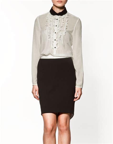 14480 White Mlxl Blouse front ruffle pan collar top sleeve sheer blouse white chiffon shirt ebay