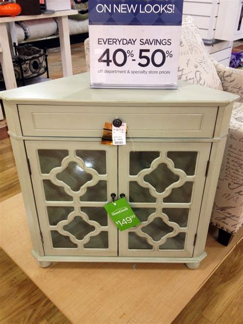 heather ann decorative home collection corner chest in mint with quatrefoil detail from homegoods