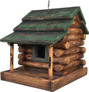 Free Plans For Wood Outdoor Furniture by Wooden Log Cabin Bird House 624 Buffalo Trader Online