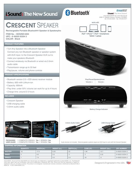 Isound Crescent Rechargeable Portable Bluetooth Speaker