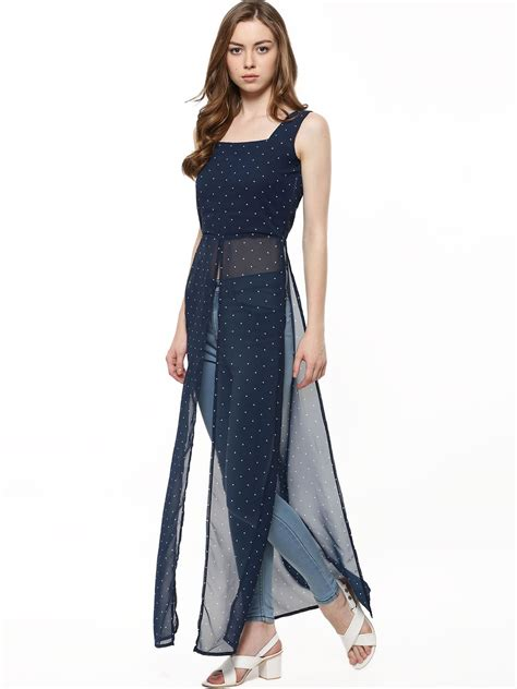 Slit Top by Buy Faballey Slit Maxi Top For S Blue