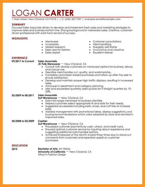 sle resume for sales associate and customer service sales associate resume no experience bio letter format