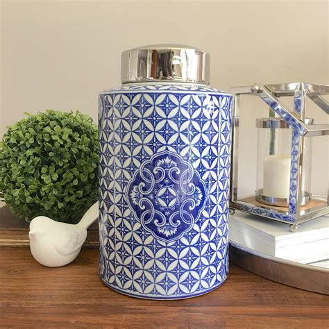 blue and white kitchen canisters large blue white ceramic motif canister chinoiserie urn