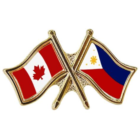Canada Philippines Crossed Pin Crossed Flag Pin Philippines Canada Flag