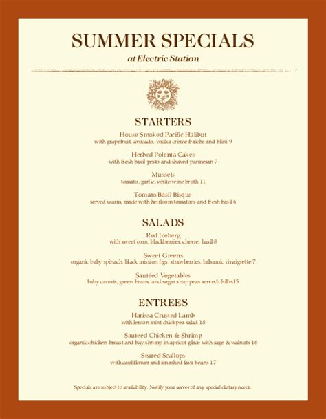 menu specials template summer specials menu daily special menus