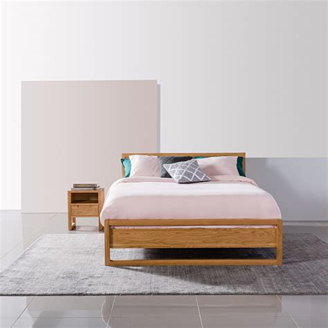 bruno size bed frame solid oak 213x162cm icon
