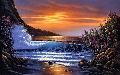 Wave And Flower sunset wave rocks flower wallpapers sunset