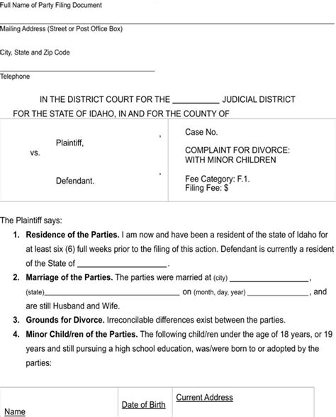 section 9 child support guidelines download idaho complaint for divorce with minor children
