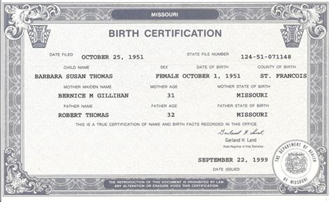 Missouri Birth Certificate Records Insurance