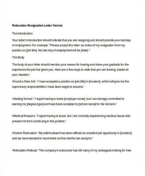 resignation letter due relocation spouse sample