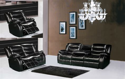 reclining sofa with drop down console 644bl black leather reclining sofa with drop down console