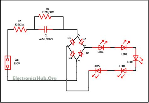 Led Light Bulbs Circuit Diagram Mains Operated Led Light Circuit Working And Advantages