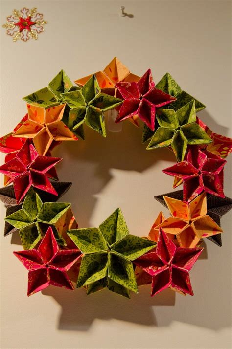 Origami Wreath - origami wreath by becks origami