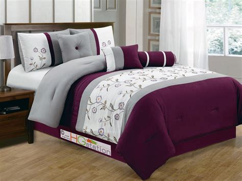 7 floral striped pleated embroidery comforter set purple