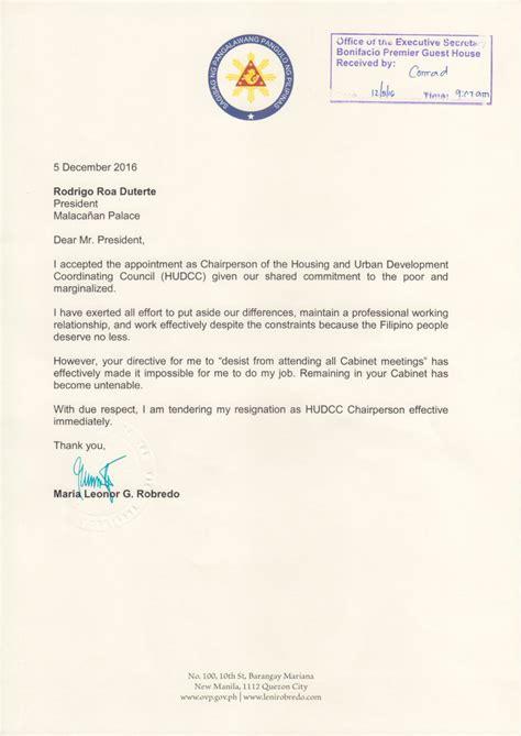 Resignation Letter Sa by Resignation Letter Ni Vp Robredo Natanggap Na Ng Malakanyang