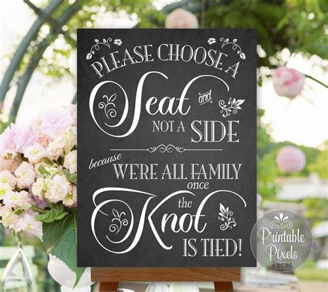 choose a seat not a side wedding sign chalkboard wedding signs choose a seat not a side www
