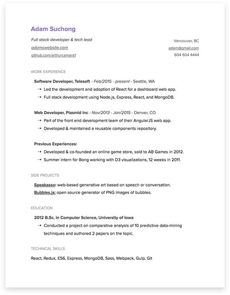 sle resume for net developer with 5 year experience 번역 2017년 개발자 이력서 작성 가이드