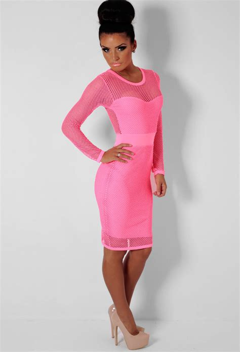 Kemeja Pink Boutique 3 cosmopolitan neon pink fishnet mesh midi dress pink boutique