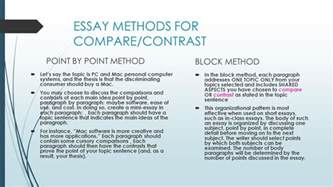 Compare And Contrast Essay Point By Point Method by Compare And Contrast Essay Writing Ppt
