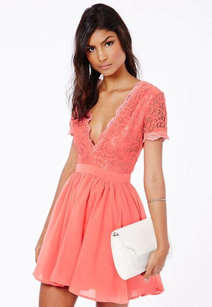 Aleena Dress missguided aleena eyelash lace plunge neck puffball mini dress in coral in pink coral lyst