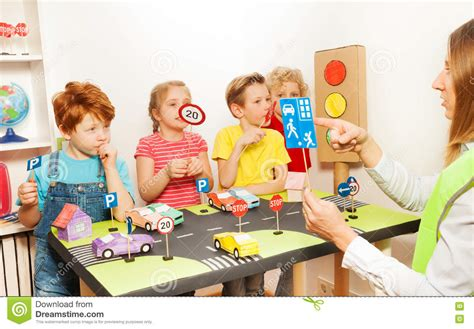 road safety lesson in the kindergarten stock photo image