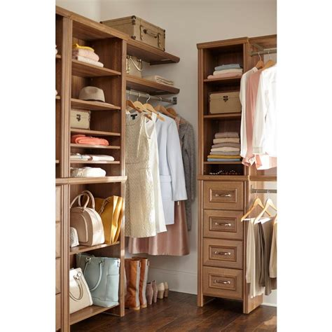 closetmaid closet kit closetmaid impressions 16 in w walnut narrow closet kit
