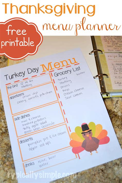 printable thanksgiving meal planner turkey day menu planner typically simple