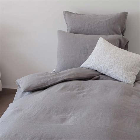 gray linen bedding elephant gray washed linen comforter cover with monogram